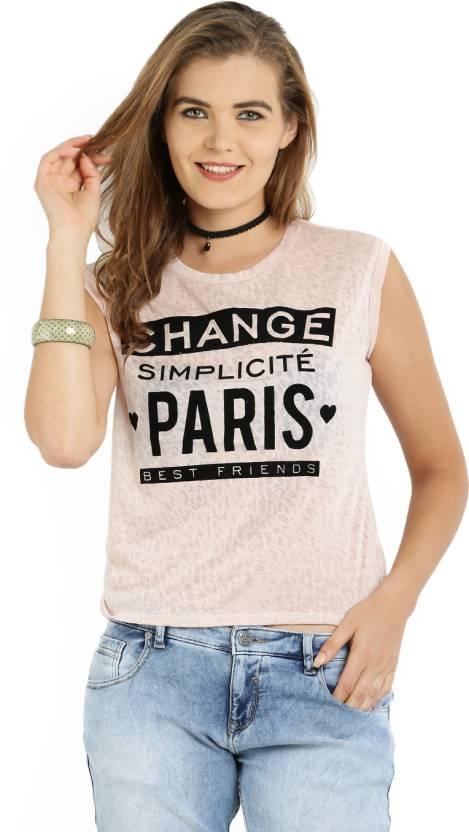 nuovo prodotto d952d aa577 ALCOTT Self Design Women Round Neck Pink T-Shirt