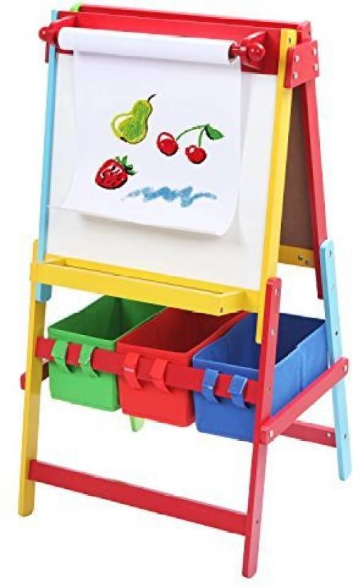 Mygift Freestanding White Board Chalkboard Easel For Kids Art Paper Roll Holder 3 Storage Bins