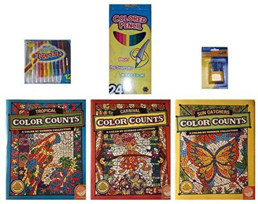 Mindware Color Counts Suncatchers/Tropical/Carnival Coloring Books ...
