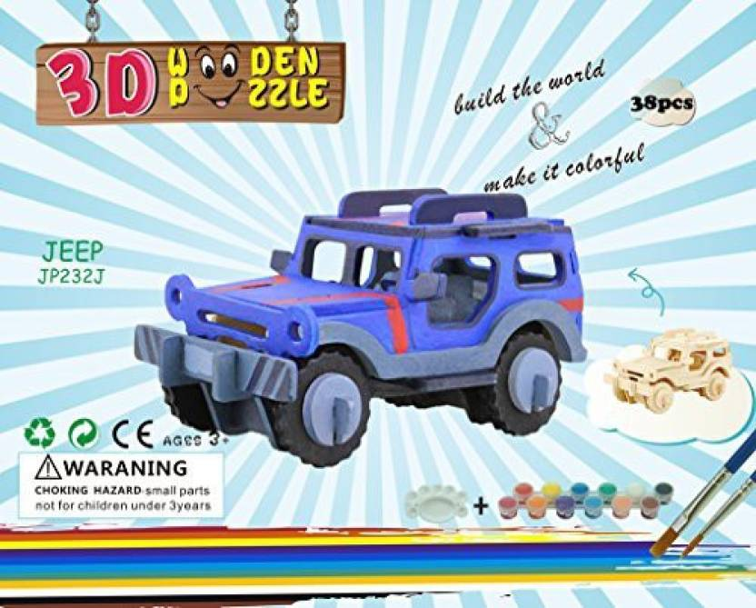 Colorful2016 Jeep 3d Wooden Puzzle For Kids And Adult Diy Wooden