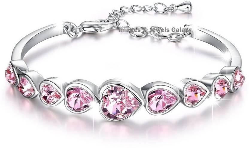 ae43f03b17fb Jewels Galaxy Copper Swarovski Crystal Platinum Charm Bracelet