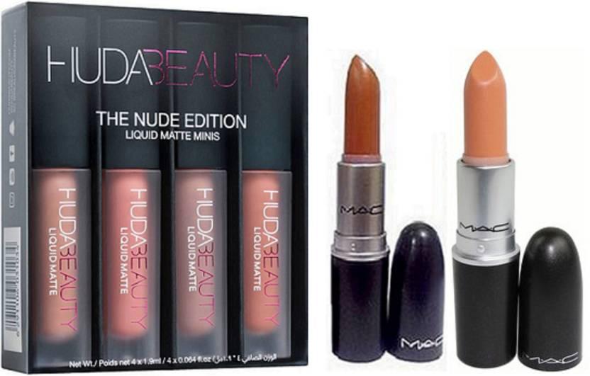 Huda Beauty Beauty Nude Edition,Mac Lipstick Combo Price in