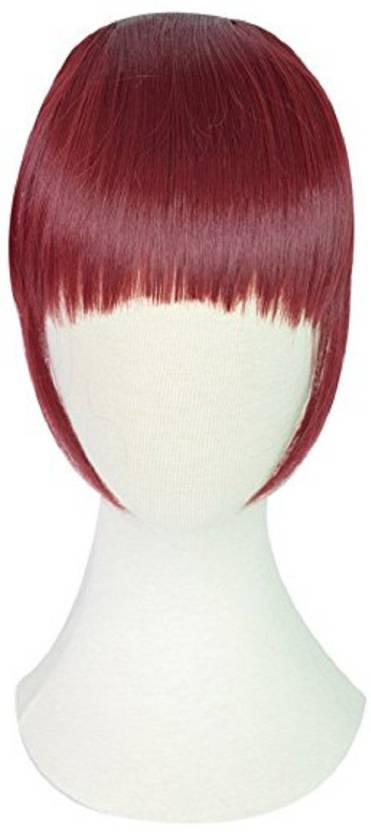 Kabello Adjustable Clip On Bangs Front Fringes Wine Red Hair