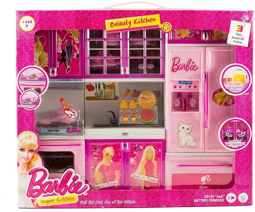 Techhark Lovely Barbie Battery Operated Light Music Kitchen Set For