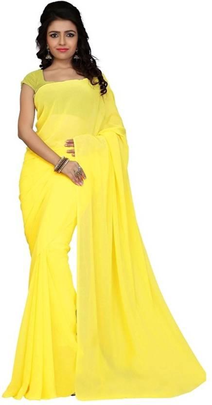 20bff5de00da Buy Navanya Couture Plain Fashion Chiffon Yellow Sarees Online ...