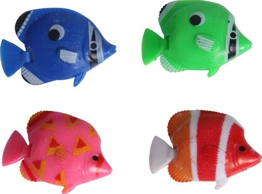 Sri Artificial Plastic Fish Ornament 4 Pcs For Fish Aquarium