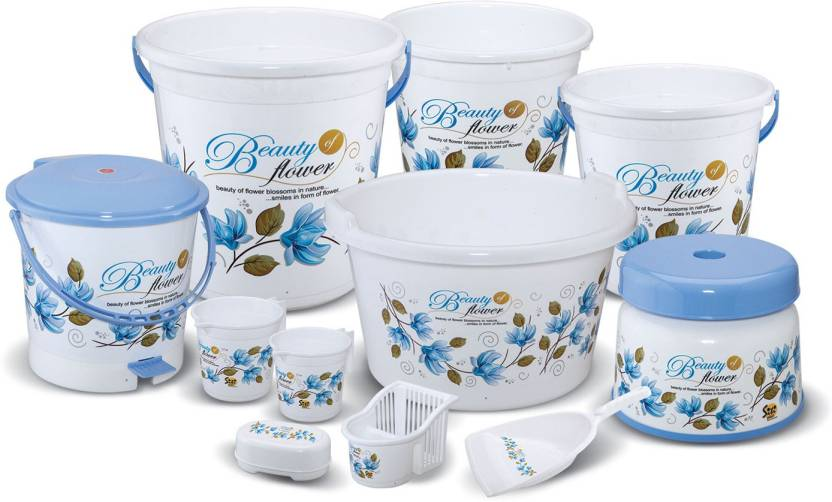 Meded Jumbo Bathroom Set 11 Pcs 22 L Plastic Bucket