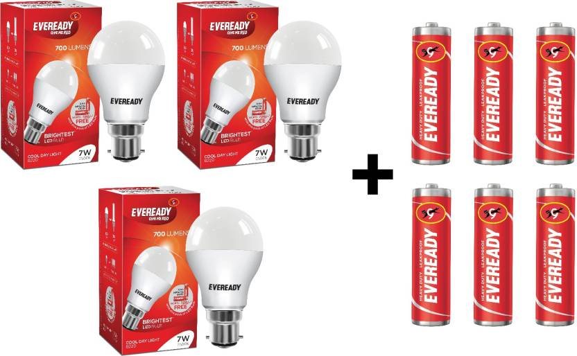 Eveready 7W LED Bulb Pack of 3 with Free 6 Batteries