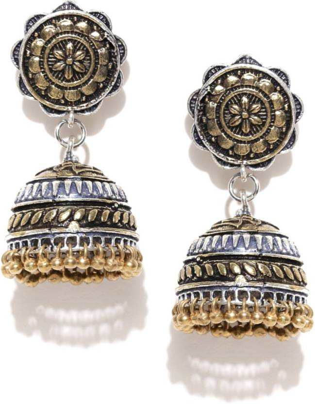 c441e2c75 Flipkart.com - Buy Infuzze Oxidised Silver-Toned & Antique Gold-Toned  Jhumkas Alloy Jhumki Earring Online at Best Prices in India