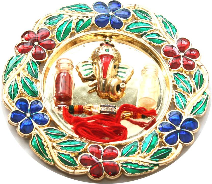 Heirloom Quality Ganpati Rakhi Thali Gold Plated Pooja & Thali Set  (5 Pieces, Multicolor)- 42% OFF