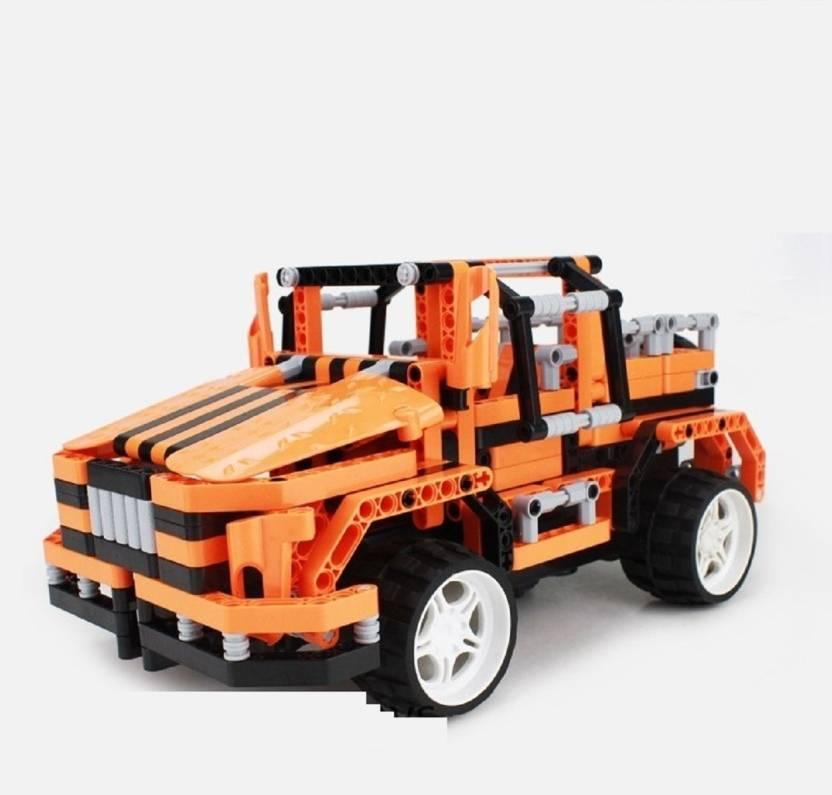Emob DIY 492 Pcs Orange Alert Bee 3D Blocks Set Model Learning Game Remote  Control Car