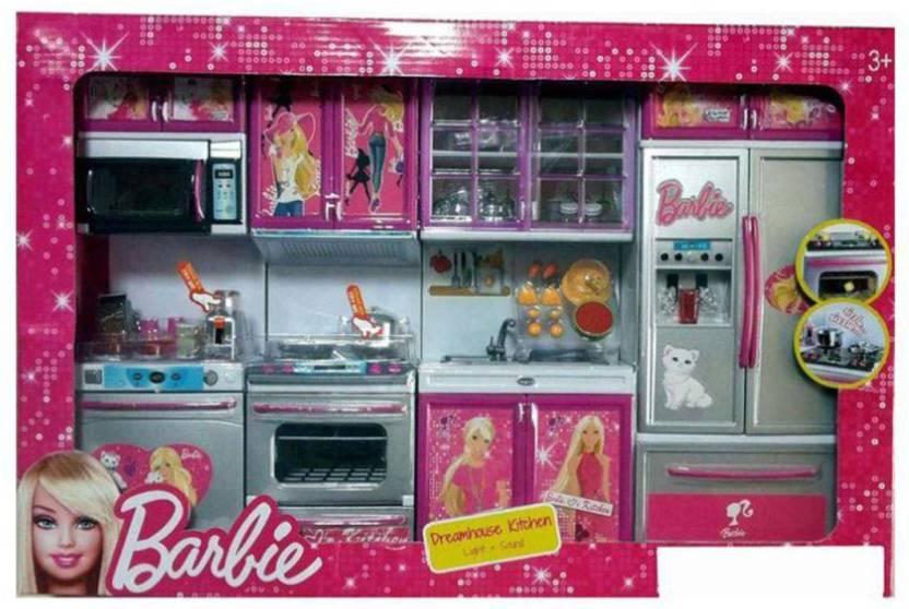 Dhawani Latest Barbie Dream House Kitchen Set Light Sound Latest