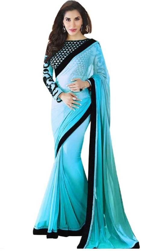 06835eb40959e2 Saumya Designer Applique Fashion Faux Georgette Saree (Black, Blue)