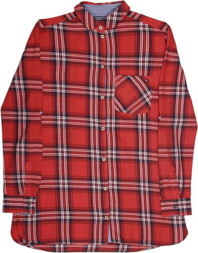 af8bb19bc Tommy Hilfiger Boys Checkered Casual Spread Shirt - Buy Red Tommy ...
