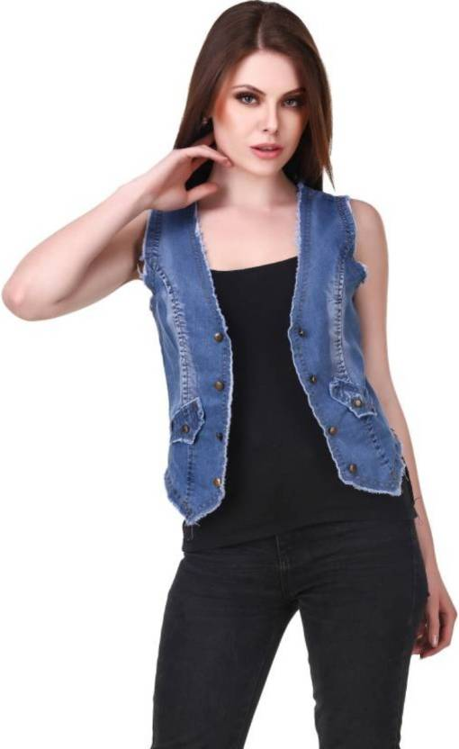 87f6ada13b8a3 BuyNewTrend Sleeveless Self Design Women Denim Jacket - Buy Light Blue  BuyNewTrend Sleeveless Self Design Women Denim Jacket Online at Best Prices  in India ...