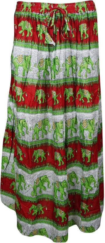 Indiatrendzs Printed Women's A-line Green, Red Skirt