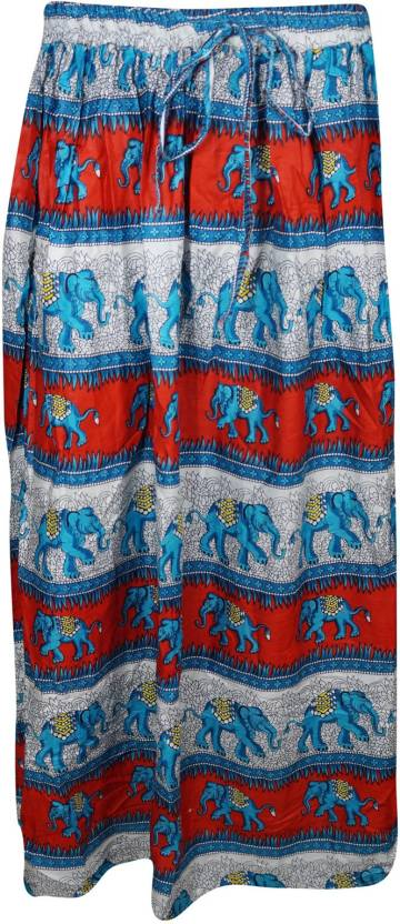 Indiatrendzs Printed Women's A-line Red, Blue Skirt