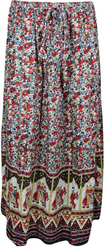 Indiatrendzs Printed Women's A-line Red, Grey Skirt
