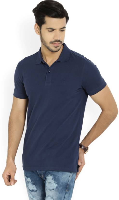 United Colors of Benetton. Solid Mens Polo Neck Blue T-Shirt