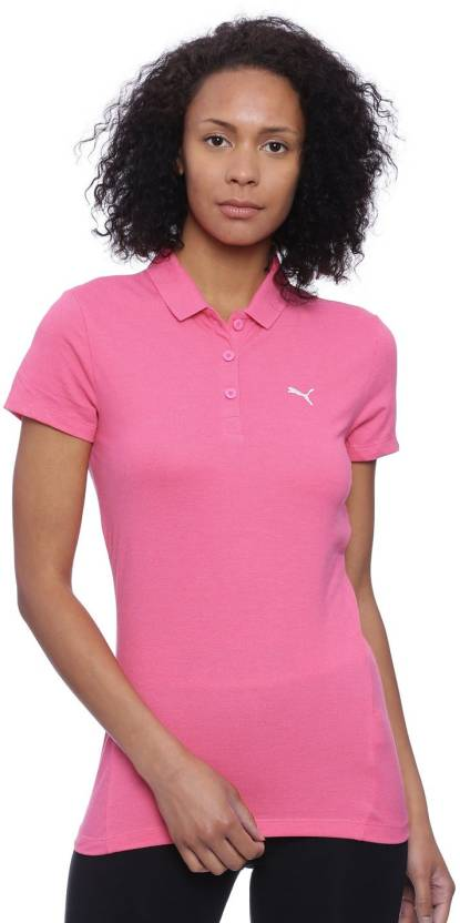 24800894 Puma Solid Women's Polo Neck Pink T-Shirt - Buy Puma Solid Women's Polo  Neck Pink T-Shirt Online at Best Prices in India | Flipkart.com