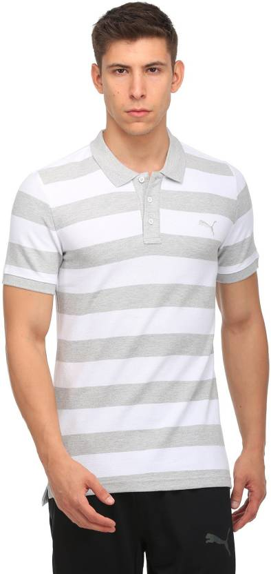 737a19cac87 Puma Striped Men Polo Neck White, Grey T-Shirt - Buy Puma Striped ...