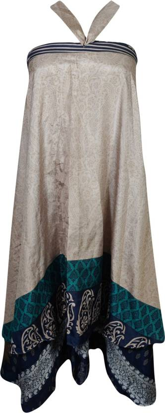 Indiatrendzs Paisley Women Wrap Around Beige, Blue Skirt
