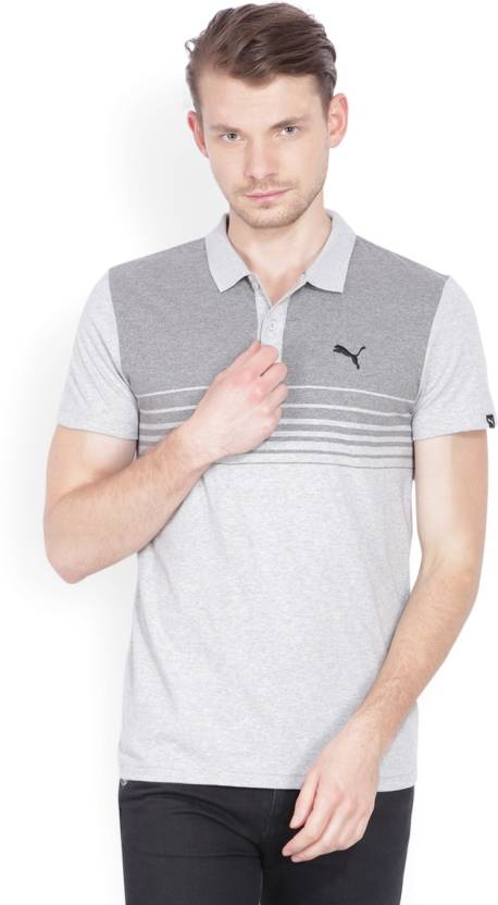 49225ab747 Puma Striped Men's Polo Neck Grey T-Shirt - Buy Light Gray Heather-MGH Puma  Striped Men's Polo Neck Grey T-Shirt Online at Best Prices in India |  Flipkart. ...