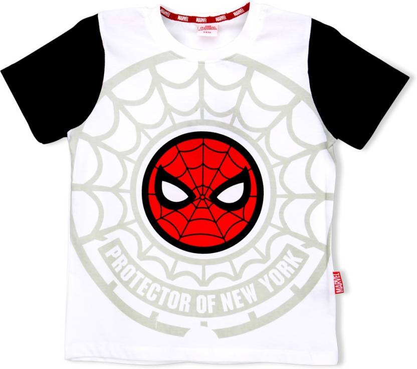 6163d15f8 Marvel Spider Man Boys Graphic Print Cotton T Shirt (White, Pack of 1)