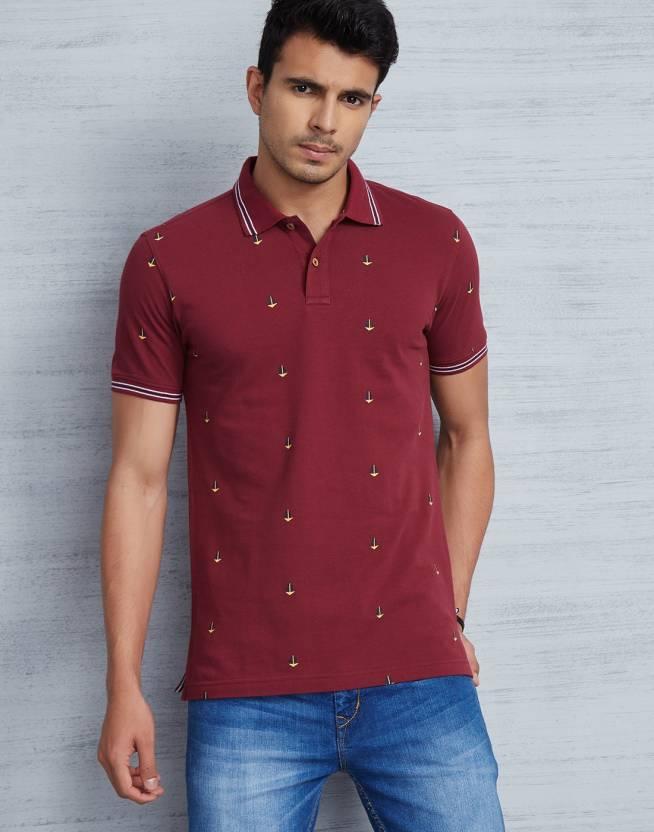 Metronaut Printed Men's Polo Neck Maroon T-Shirt