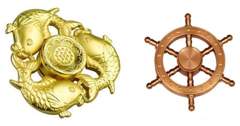 Montez High Speed Golden Fish Boat Wheel Fidget Spinner Toy Pack Of 2 Multicolor