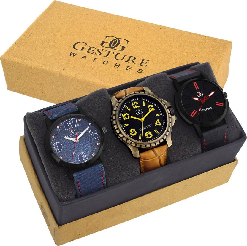 Gesture Attractive Arrogant Combo of 3 Stylish Creative Watch - For Men