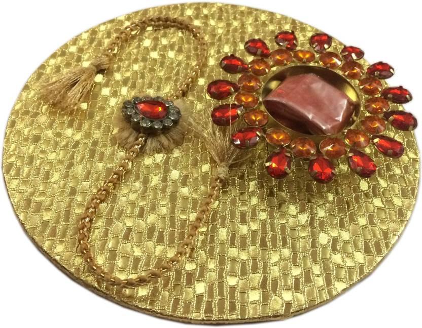 loopsnknots Wooden Pooja & Thali Set  (Gold)- 53% OFF