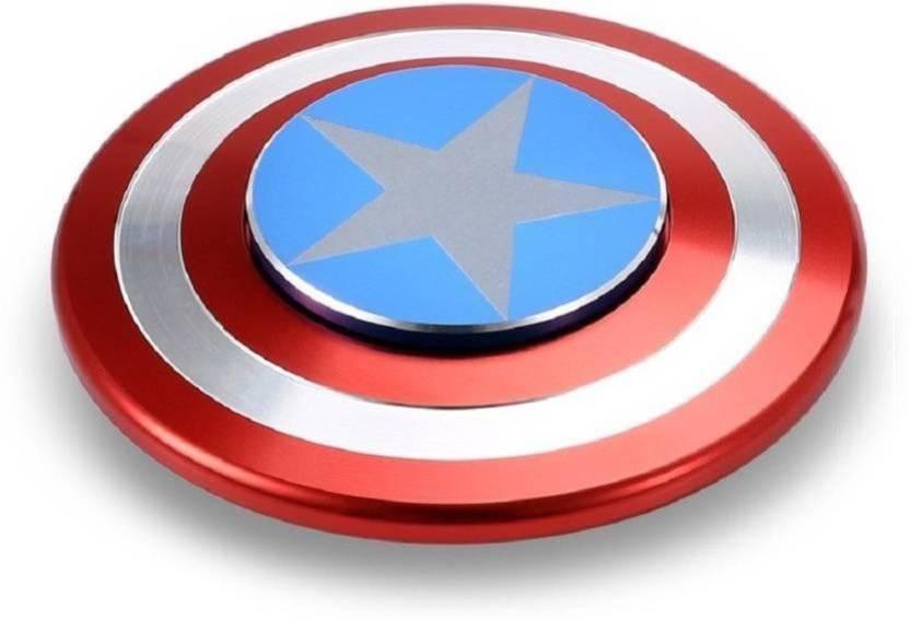 Akki Collection Metal Captain America Shield Fidget Spinner (Multicolor)