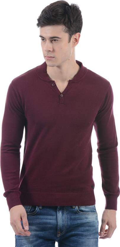 e75e904d85 Pepe Jeans Solid V-neck Casual Men Maroon Sweater - Buy Pepe Jeans Solid V-neck  Casual Men Maroon Sweater Online at Best Prices in India