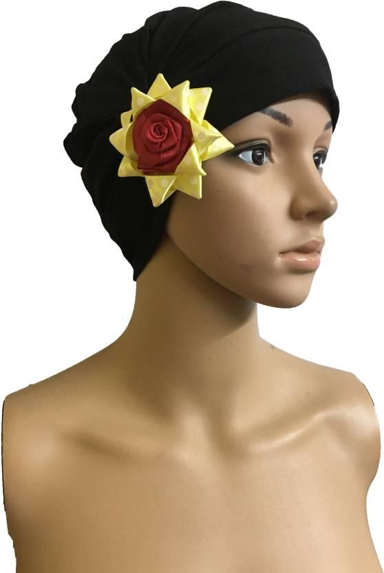 48f08636db5 GIRIJA Self Design BLACK CHEMO CAPS YELLOW REMOVABLE BOW HEADCOVER FLOWER  SLEEP CAPS LADIES CANCER HEADWEAR