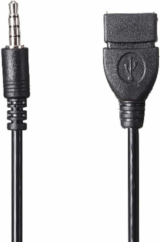 3.5mm Male AUX In Audio Plug Jack To USB Female Converter Otg Cable