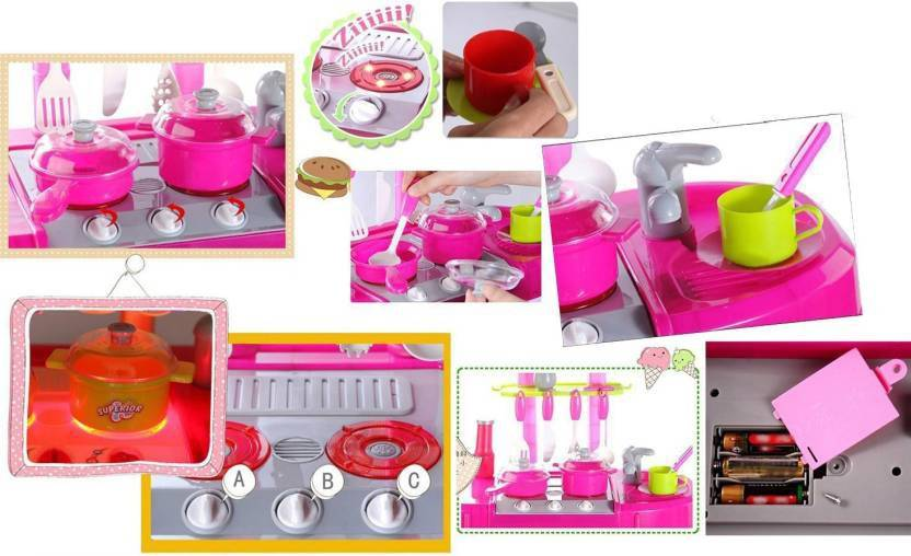 Akshit Kitchen Set Kids Luxury Battery Operated Kitchen Playset