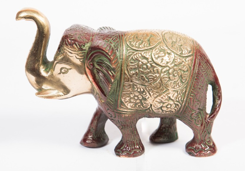 ARIHANT CRAFT Ethnic Decor Elephant Standing Trunk Up Statue
