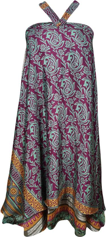 Indiatrendzs Printed Women's Wrap Around Pink, Green Skirt