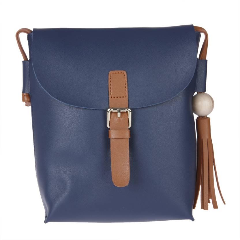 41cbb3f59e Fur Jaden Women Casual Blue PU Sling Bag Navy - Price in India ...