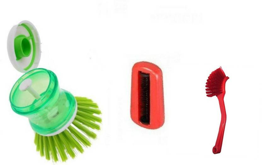 Arisers Set Of 3 Cleaning Brush Sofa Bed Cleaner Liquid Soap Dispenser And Sink