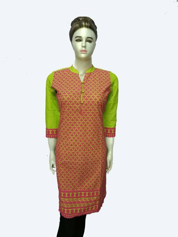 46a4b9ecff5 Pink Umbrella Casual Chikan Embroidery Women Kurti - Buy Pink ...