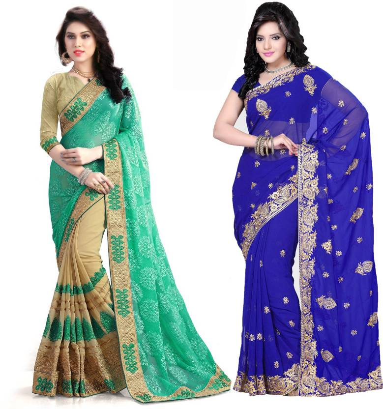 Buy Online Bazaar Embroidered Fashion Georgette Multicolor Sarees