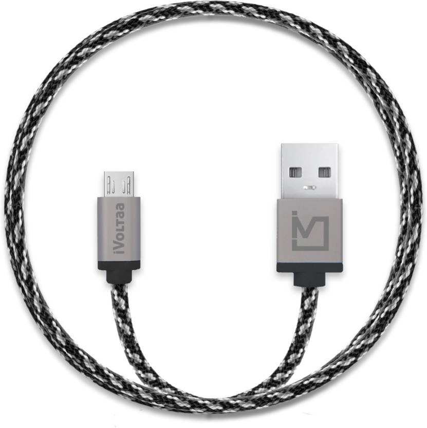iVoltaa Pixie Braided 2.4A Micro USB Cable All Phones With Micro USB Port, Grey, Sync and Charge Cable  iVoltaa Mobile Cables