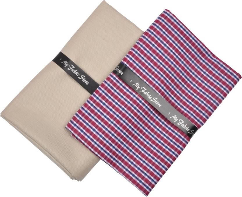 3f635e0da95 My Fabric Store Cotton Polyester Blend Checkered Shirt   Trouser Fabric