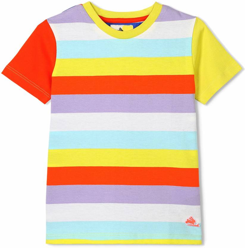 67c6ce87 Cherry Crumble California Boys & Girls Striped Cotton T Shirt (Multicolor,  Pack of 1)