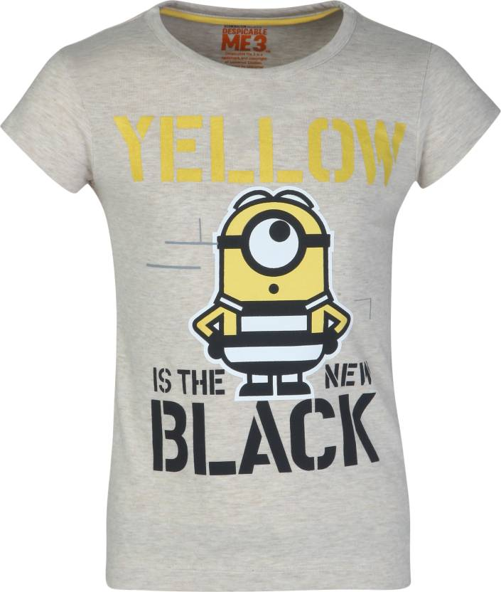036c50c27 Minions Girls Graphic Print Cotton Polyester Blend T Shirt (Grey, Pack of 1)