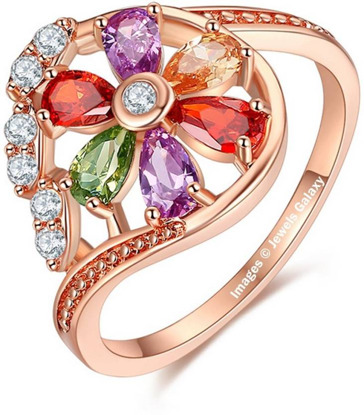 Jewels Galaxy Luxuria Alloy Swarovski Crystal 24K Rose Gold Plated Ring