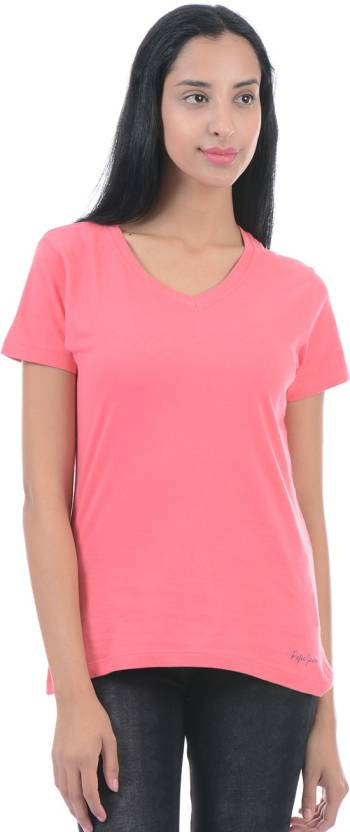 960a676e85 Pepe Jeans Solid Women V-neck Pink T-Shirt - Buy Pepe Jeans Solid ...
