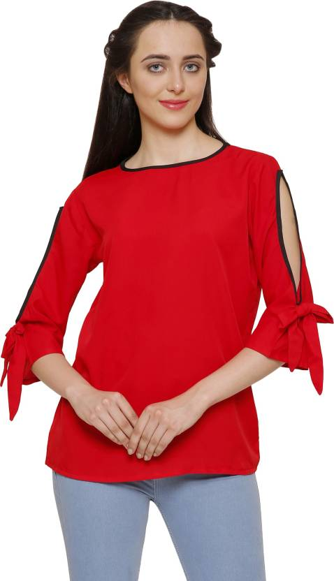 ed1930f3cd9b34 Indietoga Casual 3 4th Sleeve Solid Women s Red Top - Buy Red a Indietoga  Casual 3 4th Sleeve Solid Women s Red Top Online at Best Prices in India ...